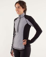 Lululemon Run: U-Turn Pullover, Reversible, Mini Check Pique Black Size 6, NWT
