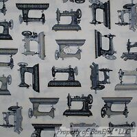 RETRO SEWING MACHINES BORDER SEWING ITEMS COTTON FABRIC BTHY
