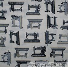 BonEful FABRIC FQ Cotton Quilt VTG Antique Old World Sewing Machine Black Gray L