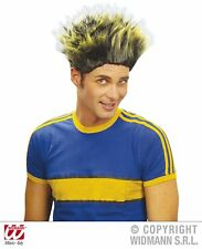 Yellow & Black Spikey Wig Teenager Troll  Punk Halloween Fancy Dress