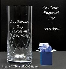 Personalised  Engraved Crystal Cut Highball Glass, Vodka Glass Any Message Boxed