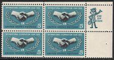 Scott 1266- MNH ZIP Block- International Cooperation Year- 5c 1965- unused mint