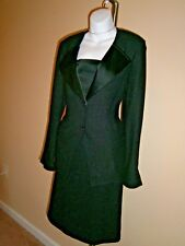 St. John Black Knit Metallic/Silky Trim 2pc  Dress/Jacket Cocktail Suit Sz 6-10