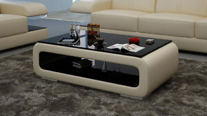Leather Coffee Table Modern Glass Design Living Room CT9010b