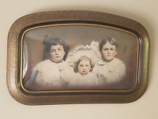 "Large Vintage Children Photo In Wood Frame Convex Glass 23"" x 15"""