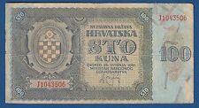 Croatia (WWII) 100 kuna 1941 -NDH war Yugoslavia Germany Hrvatska !