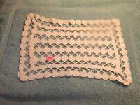 Doily Vintage Crochet White Rectangular Table Top   #233D