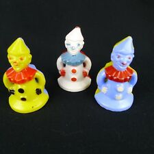 3 Vintage Hard Plastic Clown Toy Figures Creepy Faces White Blue Yellow Unmarked