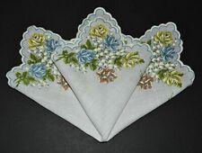vintage handkerchief CHEERFUL HANKY flower print BOLD shabby cottage chic CHARM