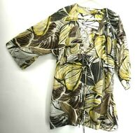 New York & Company Women's Large Sheer 3/4 Sleeve V-Neck Blouse w/ Front Tie