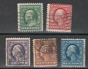 USA Scott #  331 332 333 334 335 Washington Perf 12 DLWM Used  ( 331-335-5)