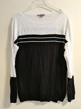 Vince Striped Lightweight Boatneck Sweater Sz M black white