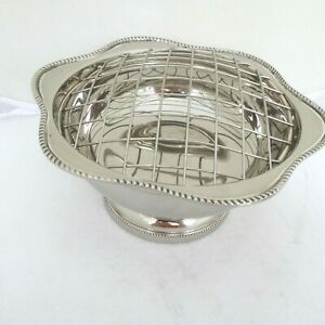 VINTAGE SILVER PLATE PEDESTAL ROSE BOWL SCALLOPED AND BEADED BORDER EDGE DECORA