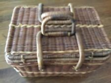 OLDER WICKER PICNIC BASKET WITH FOLDING LOCKING HANDLES - PRE-OWNED