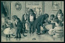 Dressed Monkey humor fantasy Dancing original old 1910s embossed postcard