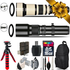 500mm-1300mm Telephoto Lens for Rebel T6 T6i + Flexi-Tripod - 16GB Holiday Kit