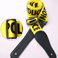 POLICE LINE Guitar Strap Yellow For Acoustic Folk Guitars Bass Electric Guitar