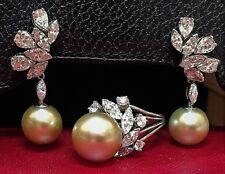 VINTAGE ESTATE GOLDEN SOUTH SEA PEARL AND DIAMOND RING AND EARRING SET