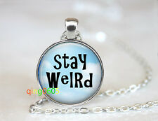 Stay Weird photo glass dome Tibet silver Chain Pendant Necklace wholesale