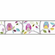 BRIGHT OWLS SELF-ADHESIVE WALLPAPER BORDERS (8955-23) A.S. CREATION ROOM DECOR