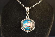 Sideways SANTA CLAUS Cabochon PENDANT -  NECKLACE  New!  Jewelry USA SELLER XMAS