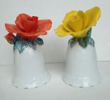 red and yellow roses porcelain bells white yellow red green floral hand painted