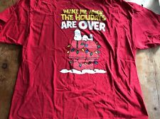 """PEANUTS Red """"Wake Me Up When The Holidays Are Over"""" T-Shirt 2XL Snoopy Doghouse"""