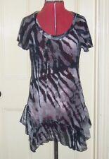 M&S sz 10 black/white/red striped chiffon cap sleeve frilled tunic