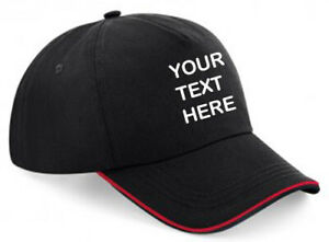Embroidered/Personalised Piped Baseball Cap, Black/Red, Text/Logo