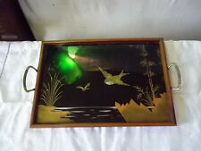 Plateau art déco années 1920 verre, bois et nacre oiseau