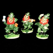 Mint Vintage Lefton 3 St Patrick's Day Leprechaun Irish Figurines Drink and Sing