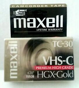 Maxell Camcorder VHS-C Cassette Tape NWOT New Japan TC-30 Premium High Grade