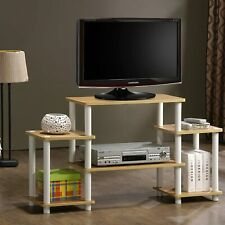 TV STAND Entertainment Center White No Tools 3-Tier Media Storage Cabinet Beech