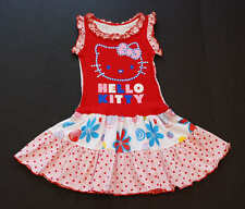NEW Custom Boutique HELLO KITTY Dress Ruffled Tank Floral Upcycle Dress 5 6 7