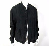 Saks Fifth Avenue 100% Silk Long Sleeve Blouse Size M Medium Solid Black
