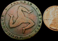 "P809: 1831 Isle of Man rame ""CALLISTER"" Mezzo Penny-Sir Edward Thomason"