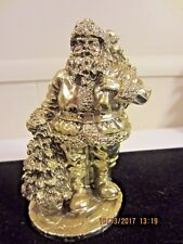 """Noble Arts Santa Clause Christmas Statue Figurine Very Detailed All Gold 6"""""""