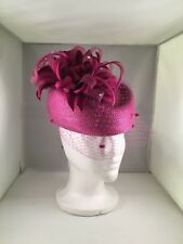 Ladies Hat Pillbox Fuchsia With Feather Accents