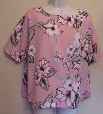 Marks & Spencer Autograph UK12 EU40 US8 pale pink floral short-sleeved top