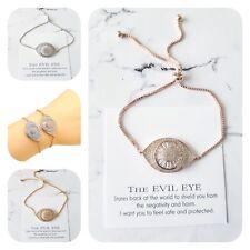 Sparkling 14ct gf white rose or gold cubic zirconia evil eye protection bracelet
