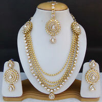 Bollywood Fashion Jewelry Ethnic Indian Golden Long Necklace Earrings Tikka Set