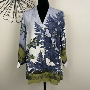 Citron Santa Monica Womens Plus Size 1X 100% Silk Textured Floral Butterfly Top
