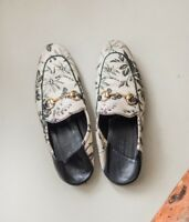 Gucci princetown leather linen floral loafers slippers mens shoes 41 limited