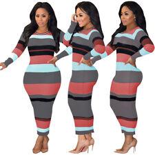 Women Fashion Long Sleeve Elastic Rib Colorful Striped Casual Maxi Bodycon Dress