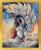 Hawk Maiden Native American Indian Golden Framed Picture Wall Decor Art (18x22)