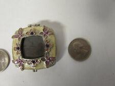 Monet Enamel Pill Box Pink Flower Crystals Magnetic Lid