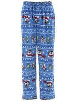Frosty The Snowman Men's Blue Sueded Fleece Pajama Pants Sleep Lounge Pants