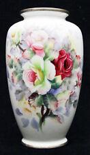 Unusual Metal Rimmed Japanese Porcelain Export Vase Flowers Roses Nippon Vintage