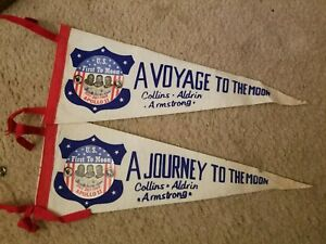 "Vintage Original 1969 NASA Apollo 11 ""First to Moon"" set of 2 different pennants"