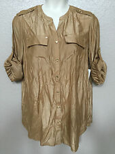 $80 NEW Charter Club Womens Plus 2X Button-Up Top Long Adjustable Sleeve Blouse